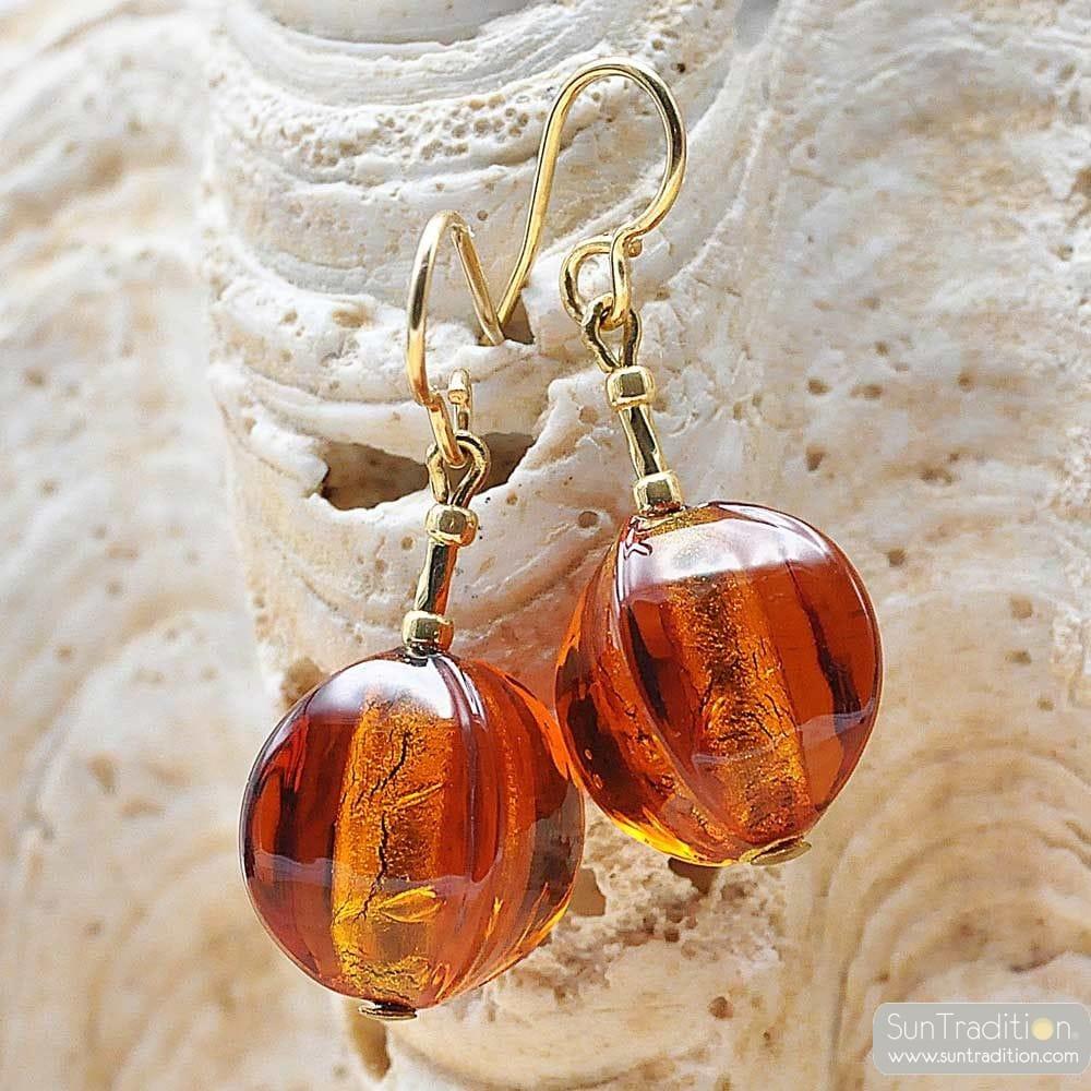 LANCET OLIVA SQUADRATA AMBER earrings AMBER MURANO GLASS