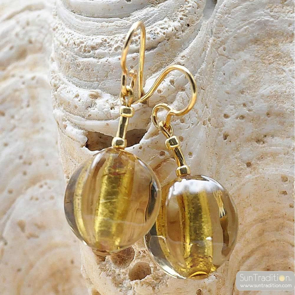 LANCET OLIVA SQUADRATA GOLD - GOLD MURANO GLASS EARRINGS