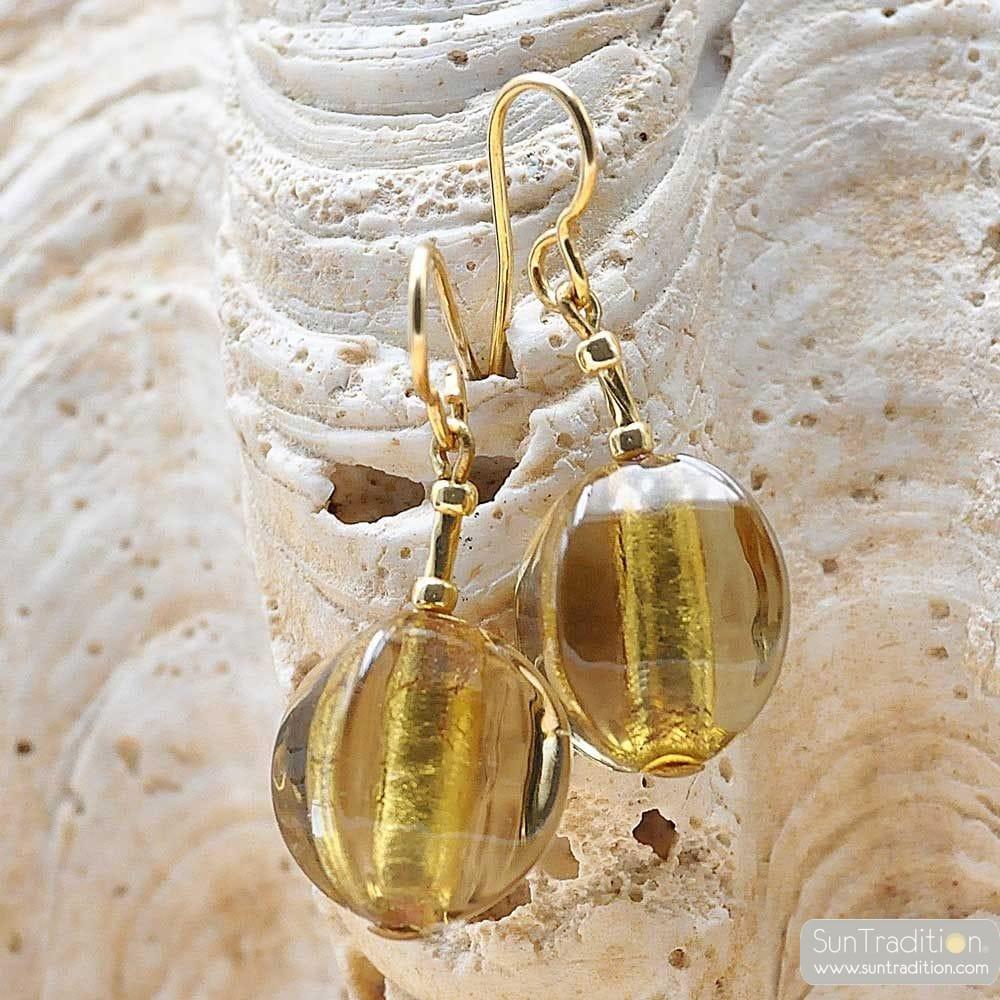 LANZETTE OLIVA SQUADRATA GOLD-GRAU-GRÜN - OHRRINGE GOLD GRAU GRÜN MURANO-GLAS