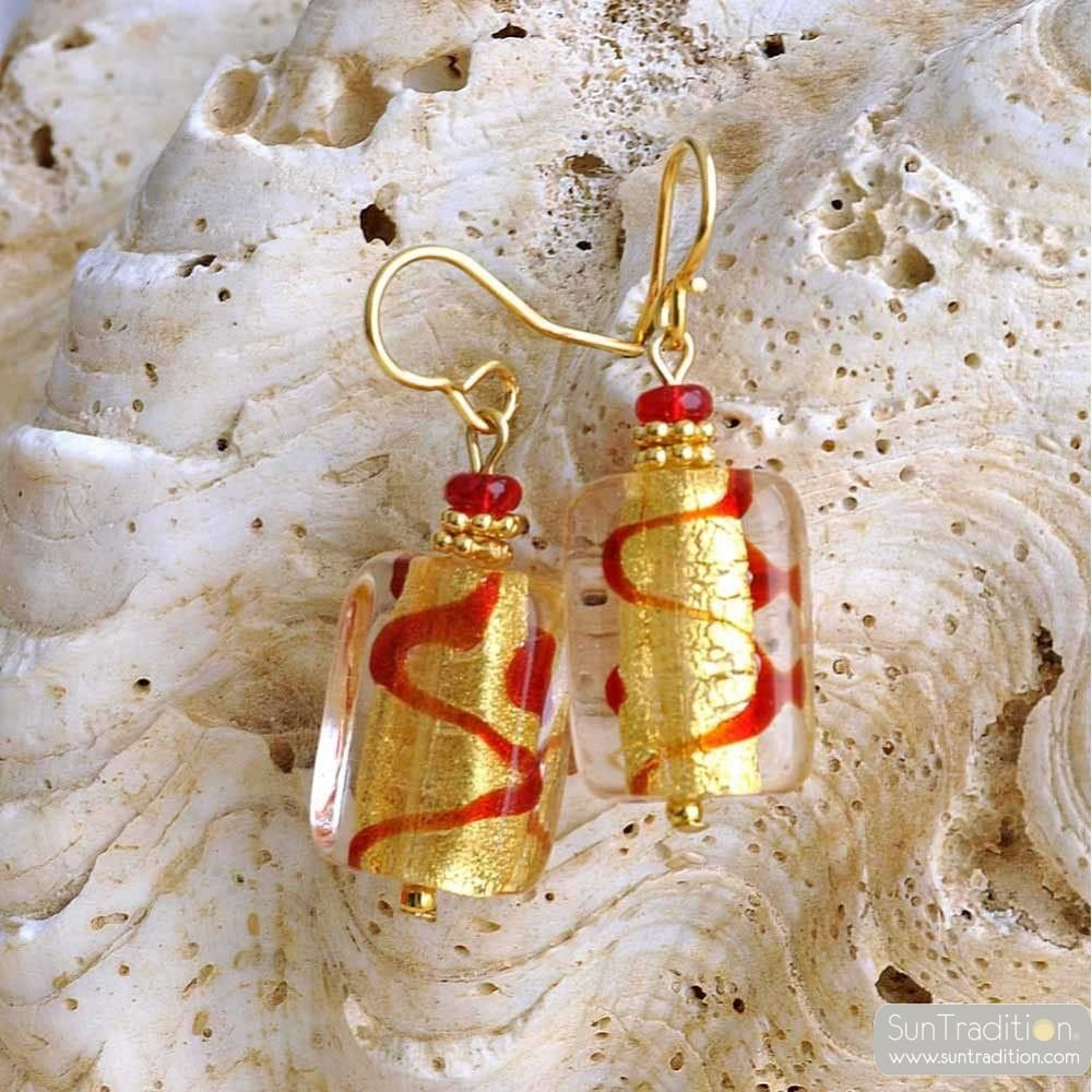 BOUCLES D'OREILLES VERRE MURANO OR ROUGE