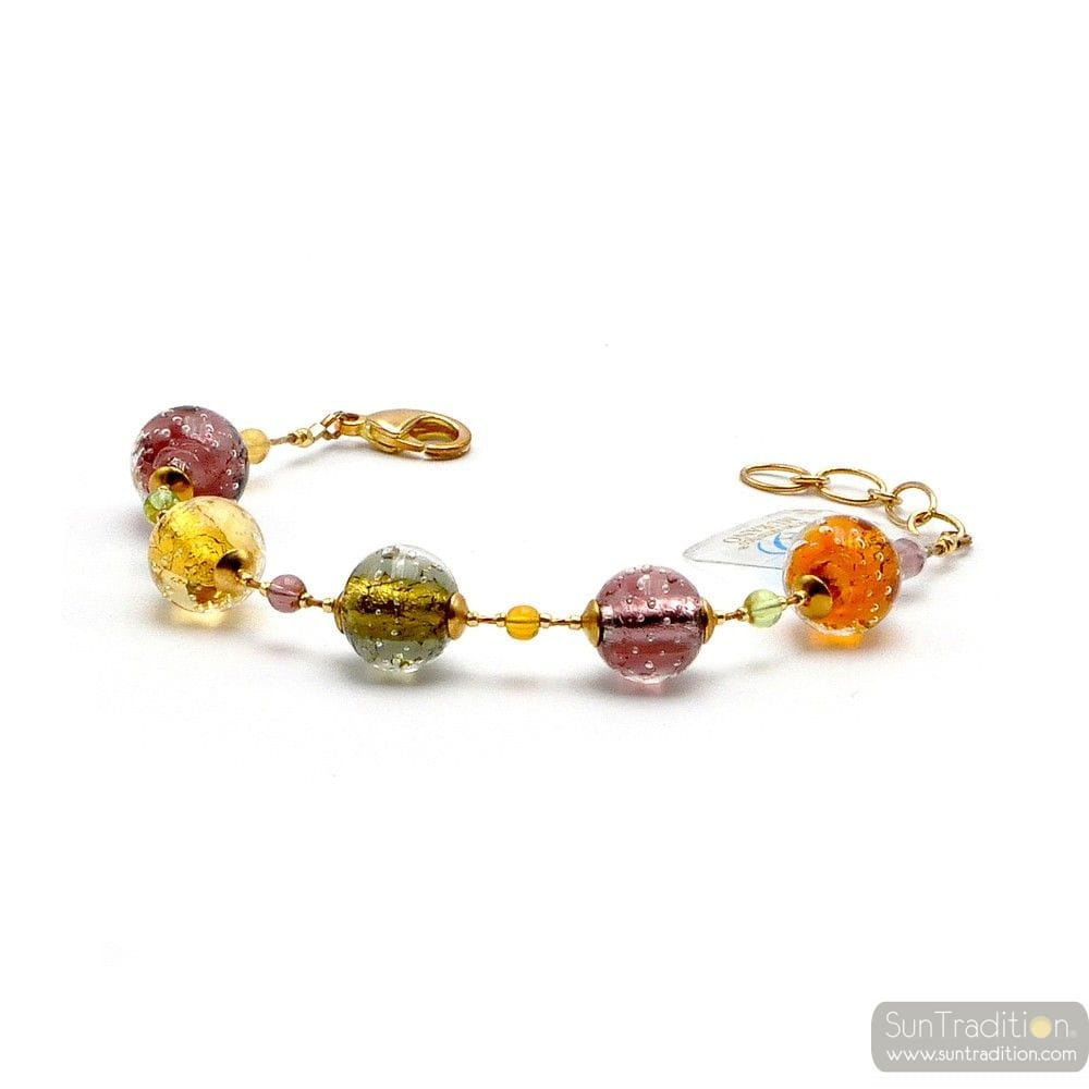 FIZZY AMBER - MULTICOLOR AMBER MURANO GLASS BRACELET VENICE ITALY
