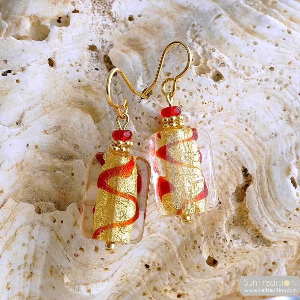 ASTEROIDE EARRINGS RED AND GOLD GENUINE MURANO GLASS