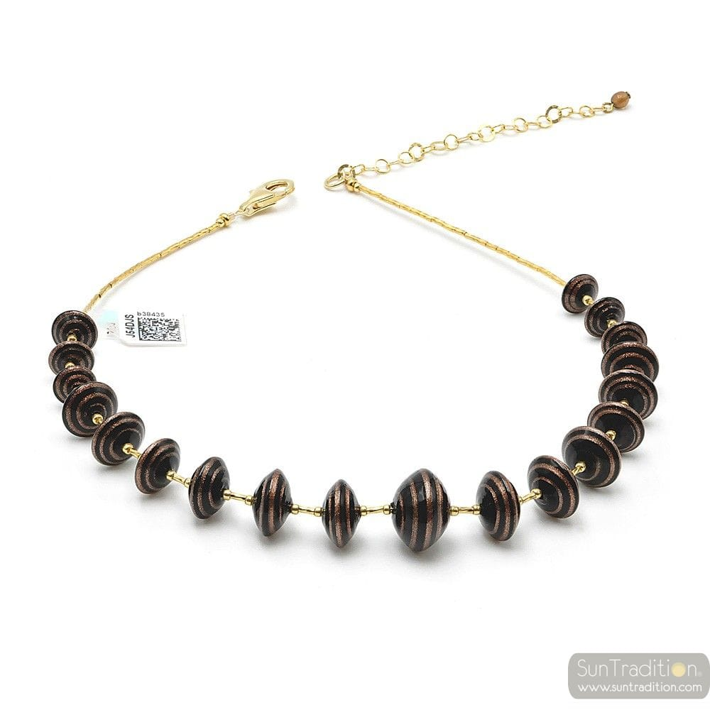 BROWN MURANO GLASS NECKLACE AVENTURINE VENICE