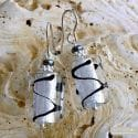 ASTEROIDE EARRINGS BLACK AND SILVER GENUINE MURANO GLASS