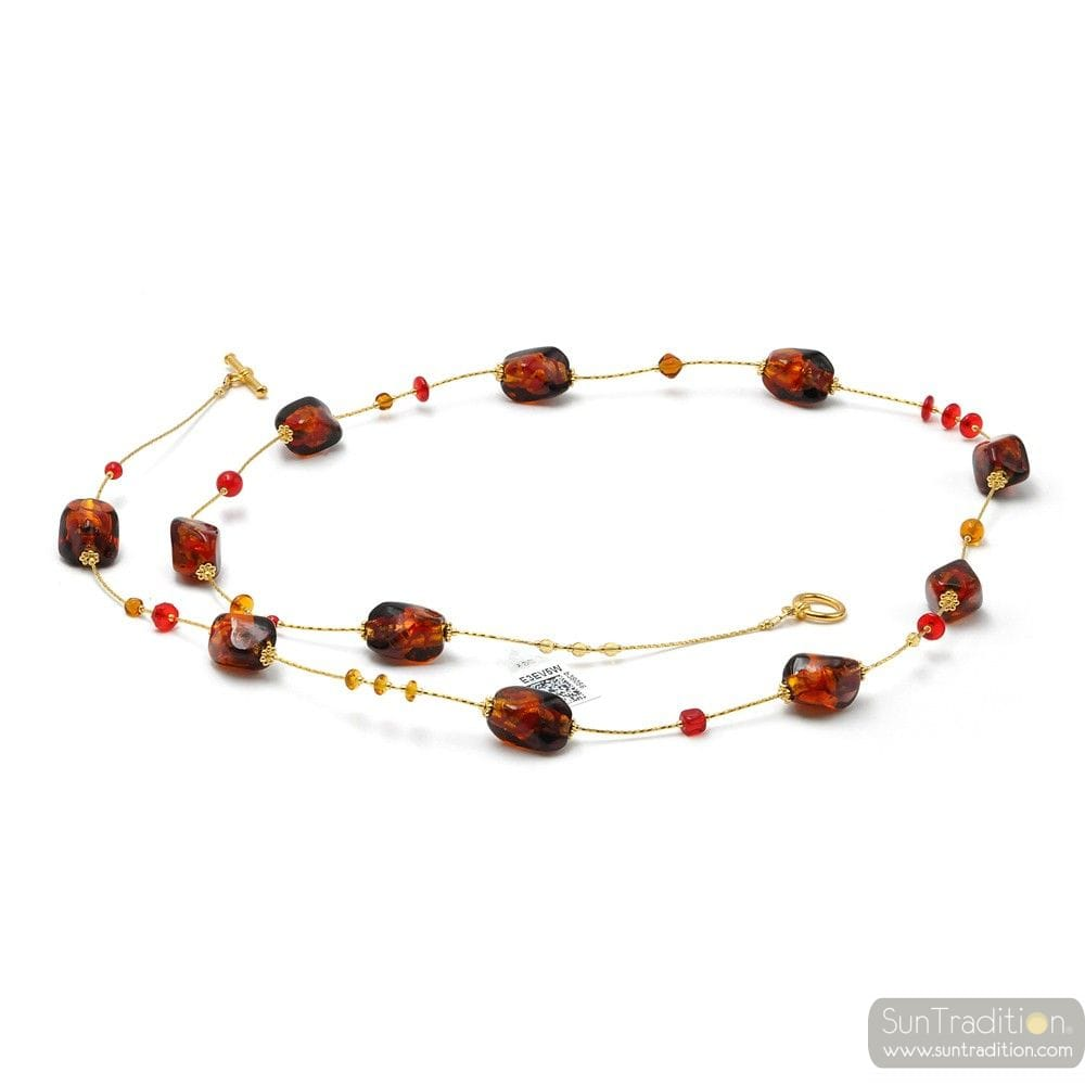 LONG AMBER AND RED NECKLACE MURANO GLASS