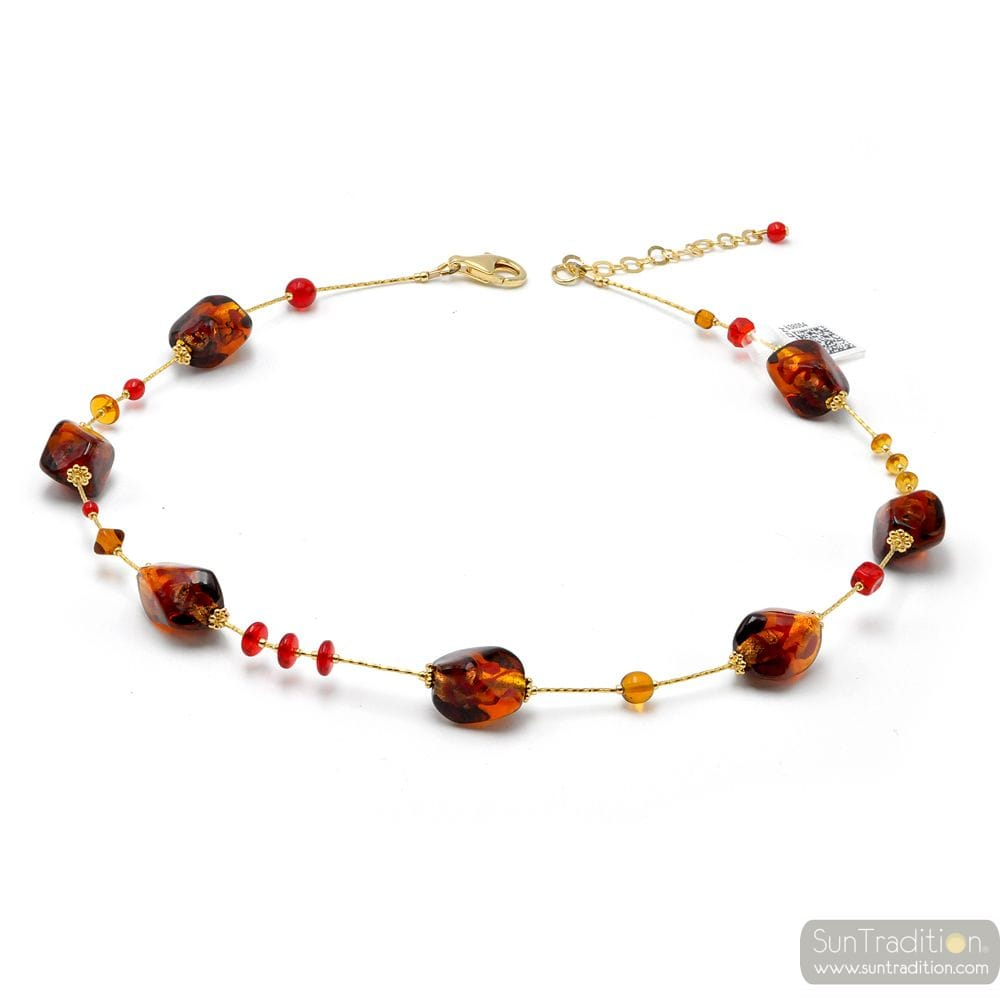 SASSO TWO TONE AMBER AND RED - AMBER AND RED MURANO GLASS NECKLACE