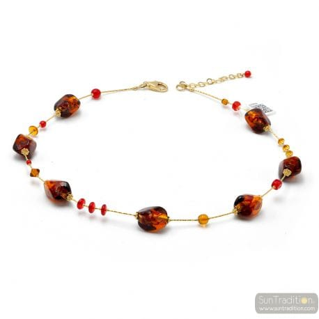 AMBER AND RED MURANO GLASS NECKLACE