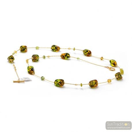 AMBER AND GREEN LONG MURANO GLASS NECKLACE
