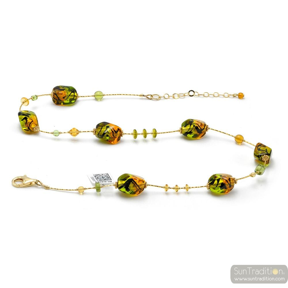 GREEN AND AMBER MURANO GLASS NECKLACE