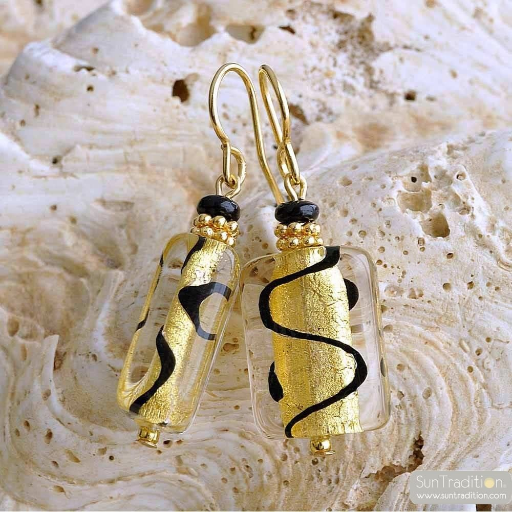 ASTEROIDE EARRINGS BLACK AND GOLD GENUINE MURANO GLASS