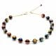 BALL MURRINA BLACK - GOLD MURRINA BLACK BEADS MILLEFIORI NECKLACE IN REAL MURANO GLASS