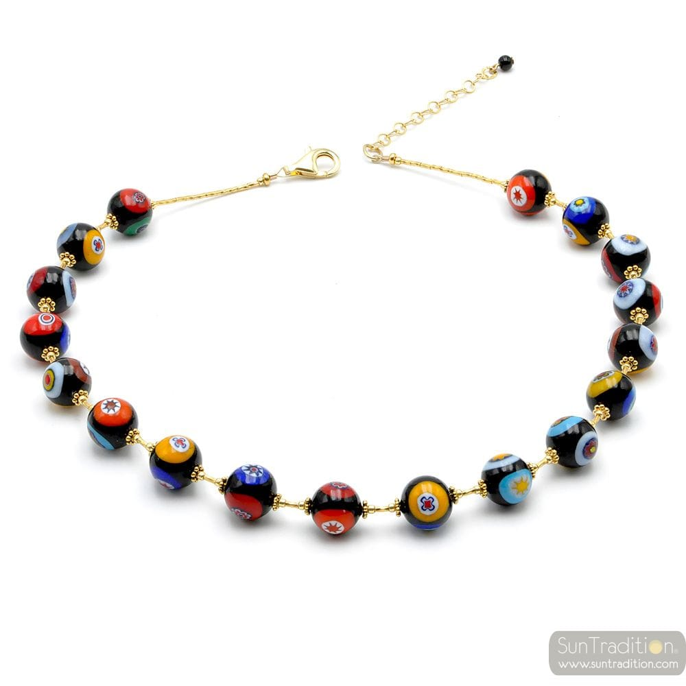 GOLD MURRINA BLACK BEADS MILLEFIORI NECKLACE IN REAL MURANO GLASS