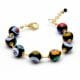 BALL MURRINE NOIR - BRACELET OR MURRINE NOIR PERLES MILLEFIORI EN VERITABLE VERRE DE MURANO