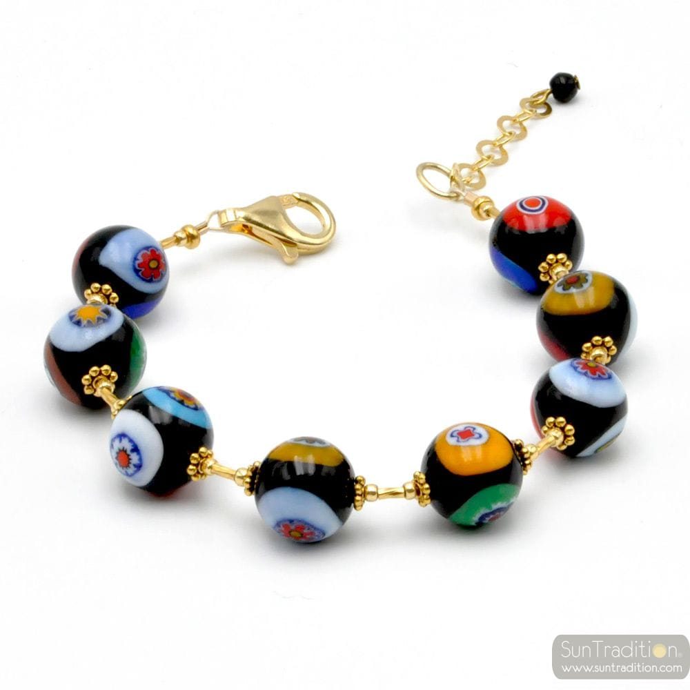 GOLD MURRINA BLACK BEADS MILLEFIORI BRACELET IN REAL MURANO GLASS