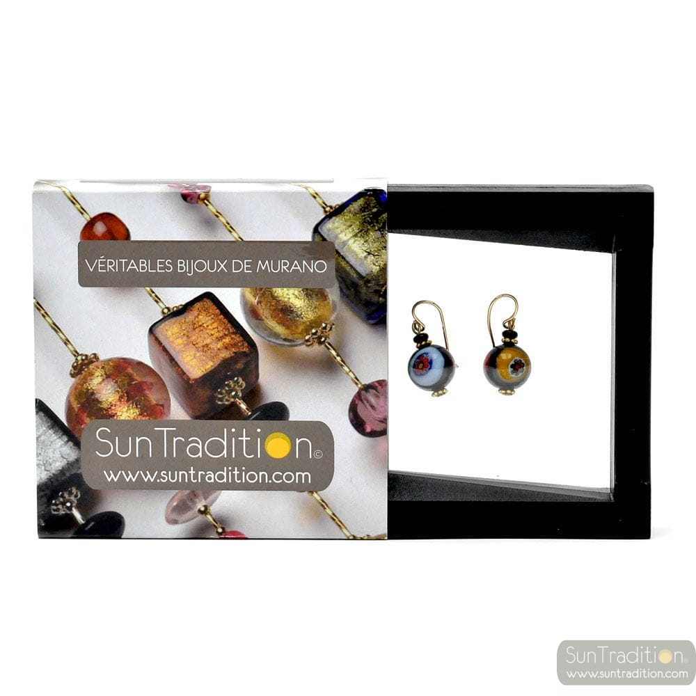 BALL MURRINA BLACK - earrings MURRINA BLACK JEWELRY GENUINE MURANO GLASS OF VENICE