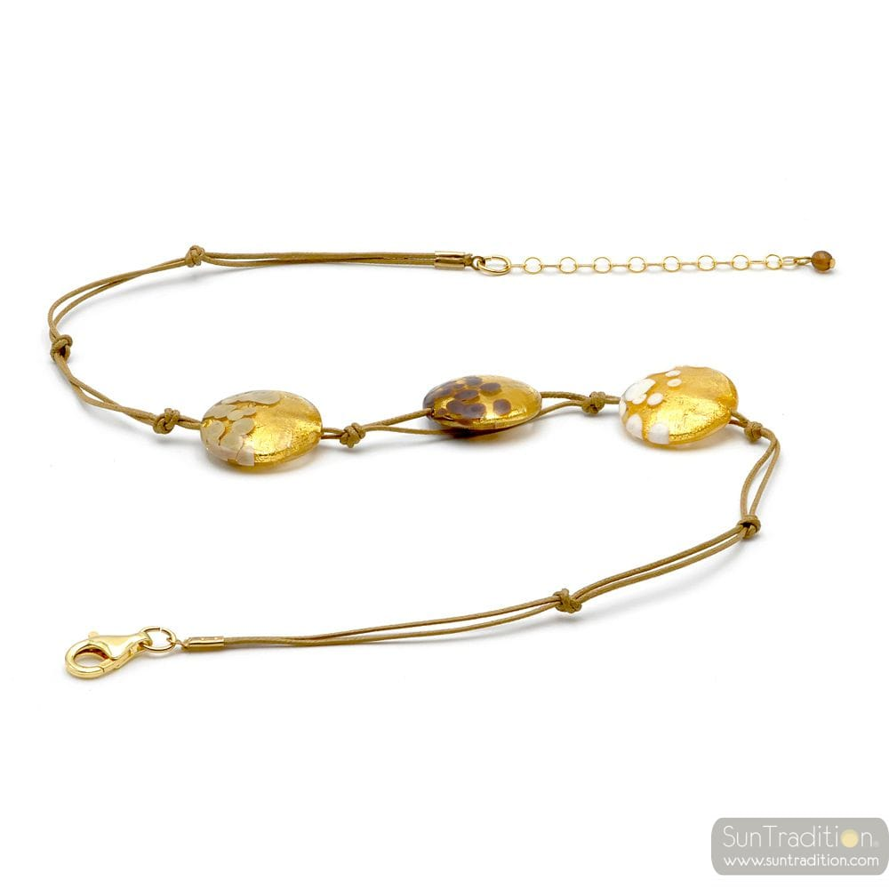 GOLD PELLETS NECKLACE JEWELRY GOLD GENUINE MURANO GLASS
