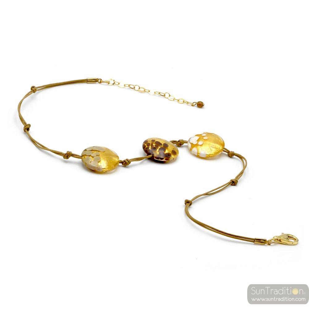 GOLD NECKLACE JEWELRY GOLD GENUINE MURANO GLASS
