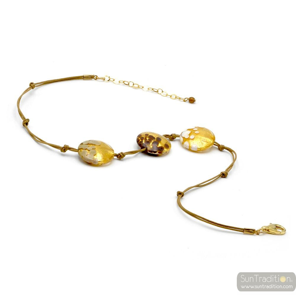 SUNSET 3 PERLEN PELLETS GOLD-UND KORDEL - HALSKETTE 3 TABLETTEN GOLD JUWEL GOLD ECHTEN MURANO GLAS