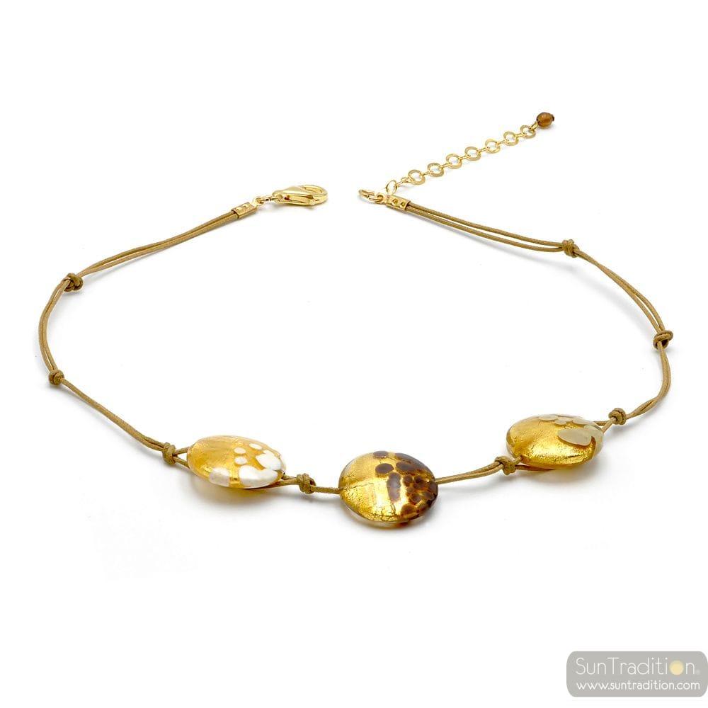 HALSKETTE 3 TABLETTEN GOLD JUWEL GOLD ECHTEN MURANO GLAS