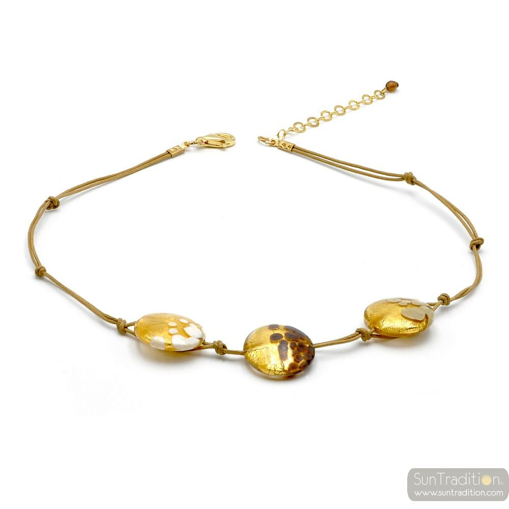 GOLD PELLETS NECKLACE MURANO GLASS