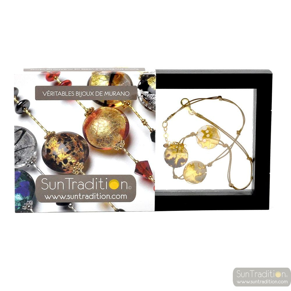 SUNSET 3 OVAL GOLD BEADS AND CORD - 3 PELLETS GOLD NECKLACE JEWELRY GOLD GENUINE MURANO GLASS