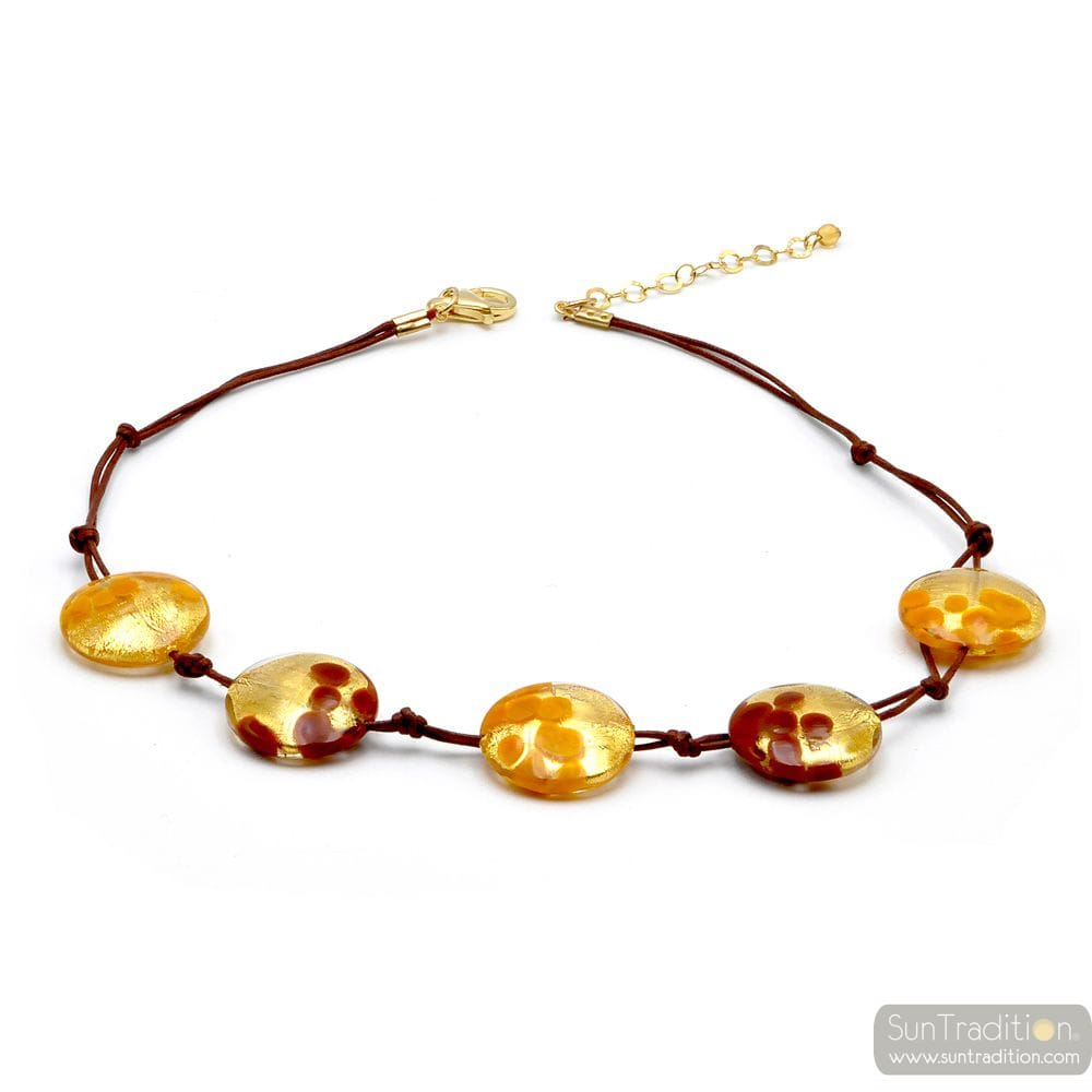5 PELLETS GOLD NECKLACE JEWELRY GOLD GENUINE MURANO GLASS