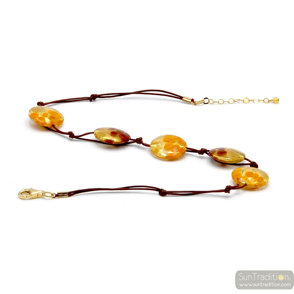 GOLD PELLETS MURANO GLASS NECKLACE JEWELRY
