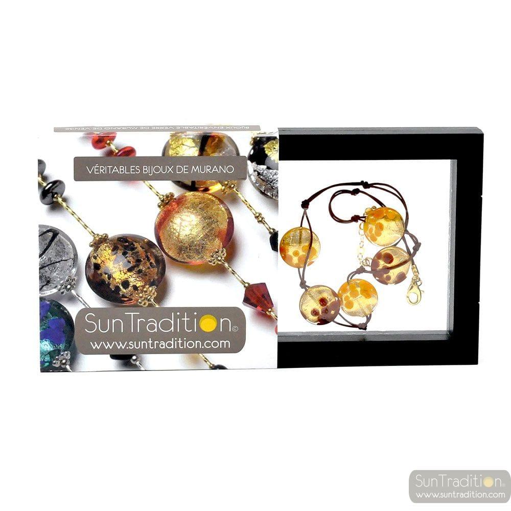 SUNSET 5 PERLEN PELLETS GOLD-UND KORDEL - HALSKETTE 5 TABLETTEN GOLD JUWEL GOLD ECHTEN MURANO GLAS