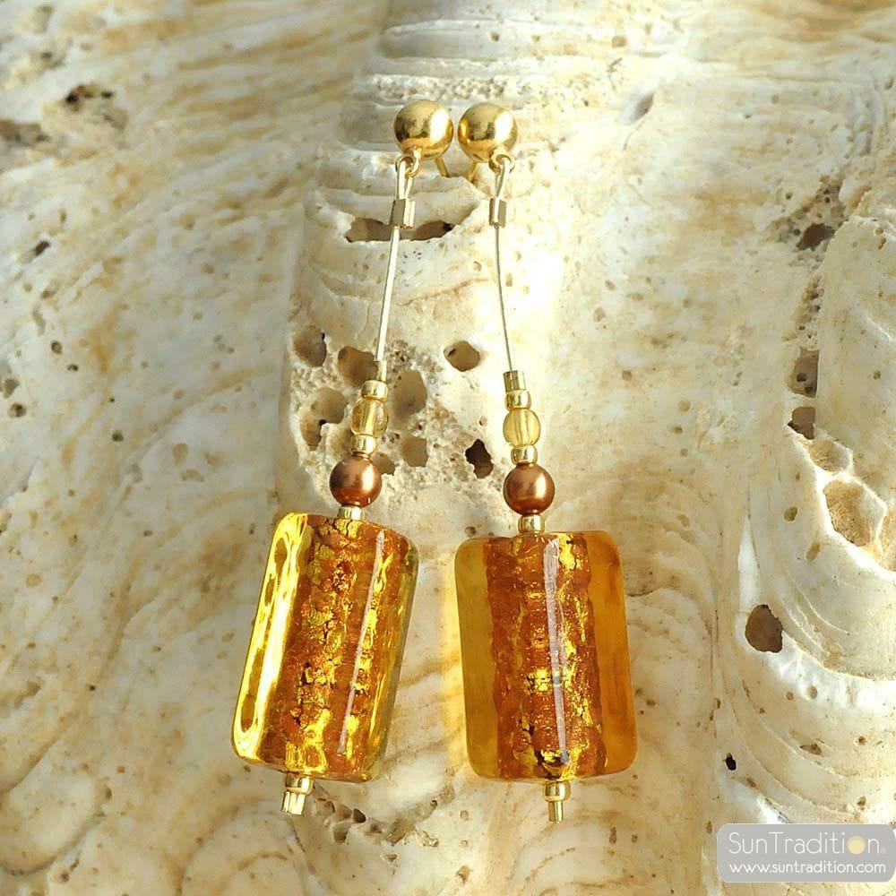 GOLD DROP EARRINGS GENUINE MURANO GLASS OF VENICE