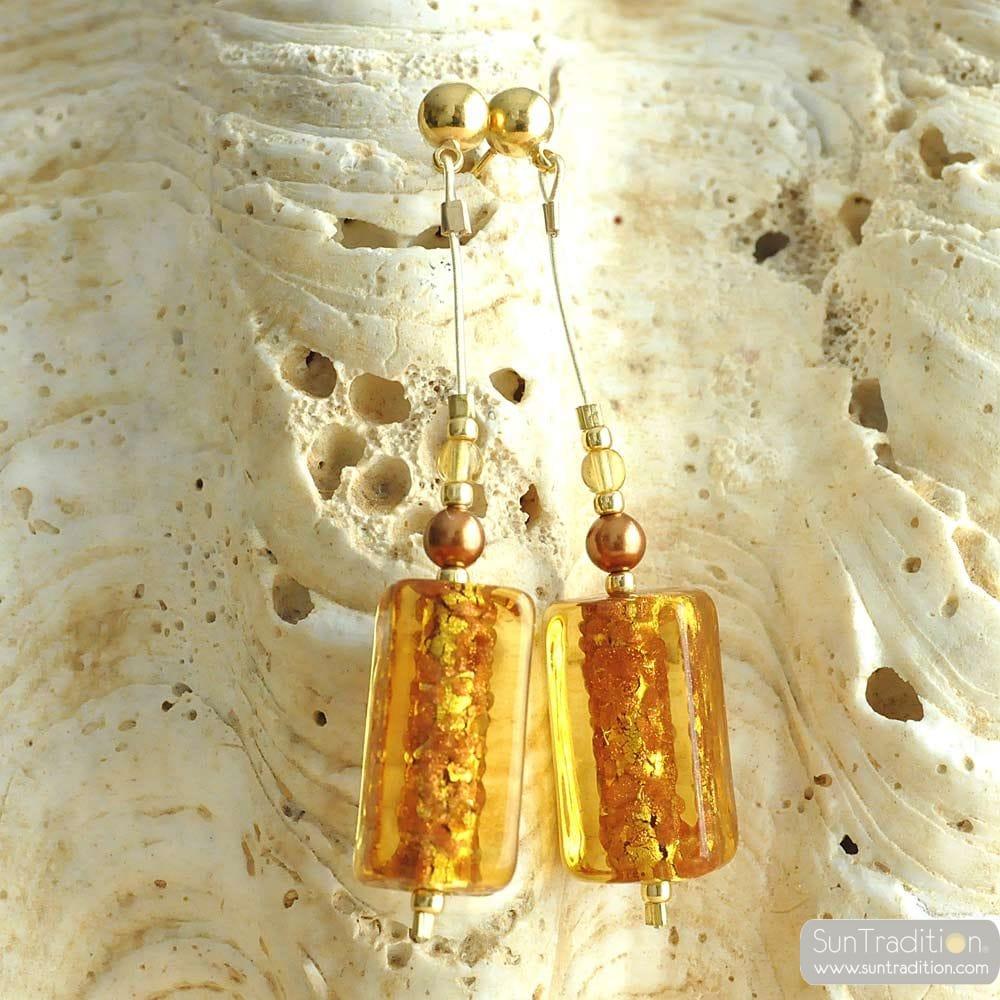 GERBERA GOLD - OHRSTECKER LANG GOLD ECHTEN MURANO GLAS AUS VENEDIG