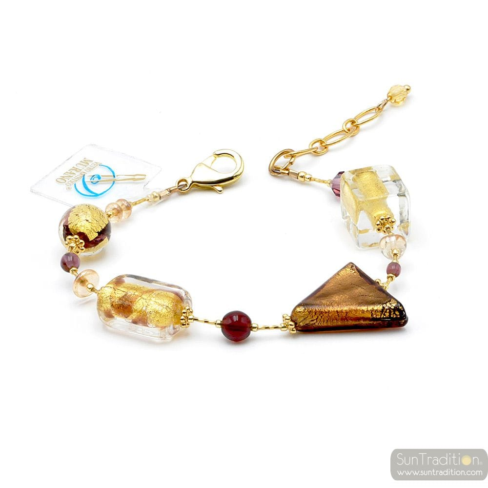 ASTEROID AMBER - AMBER MURANO GLASS BRACELET REAL VENITIAN JEWEL