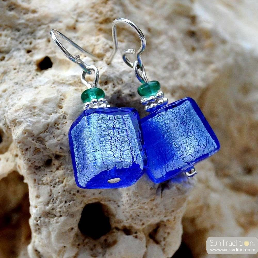 AMERICA - BLUE SILVER EARRING REAL GLASS MURANO VENICE