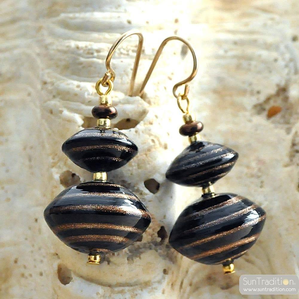 ANELLI DI SATURNO BROWN - BROWN EARRINGS AVENTURINE BROWN AND GOLD GENUINE MURANO GLASS OF VENICE