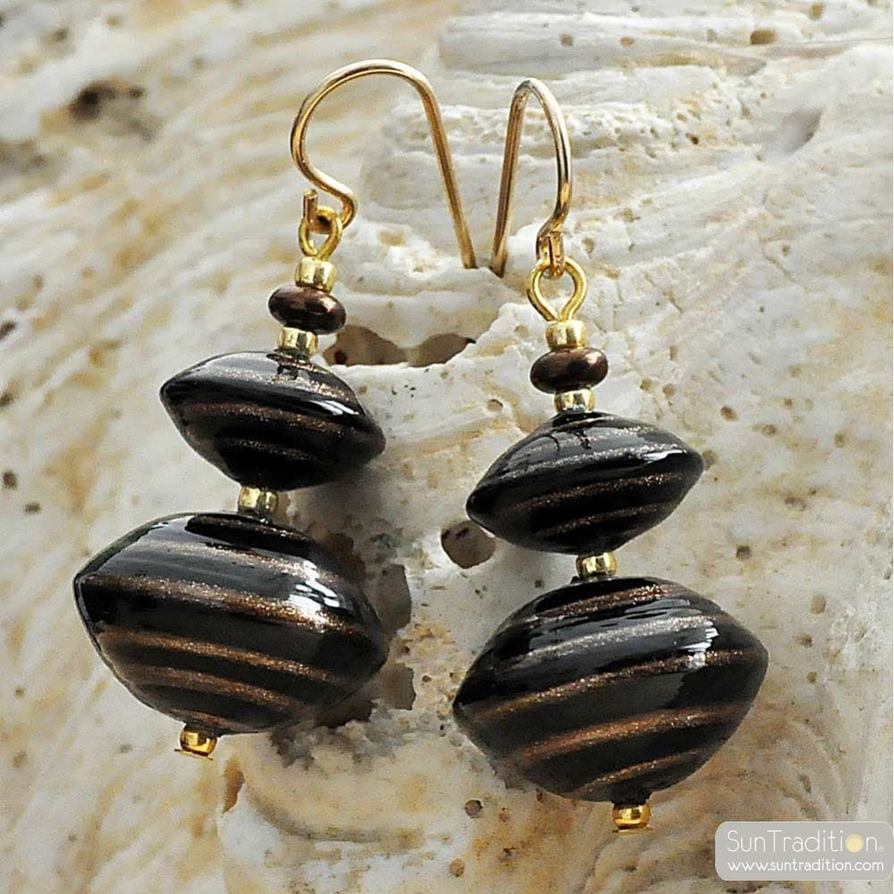 BROWN earrings AVENTURINE BROWN AND GOLD GENUINE MURANO GLASS OF VENICE