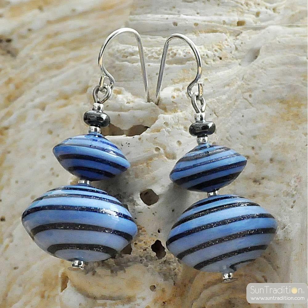 ANELLI DI SATURNO BLUE - BLUE EARRINGS AVENTURINE BLUE & SILVER GENUINE MURANO GLASS OF VENICE