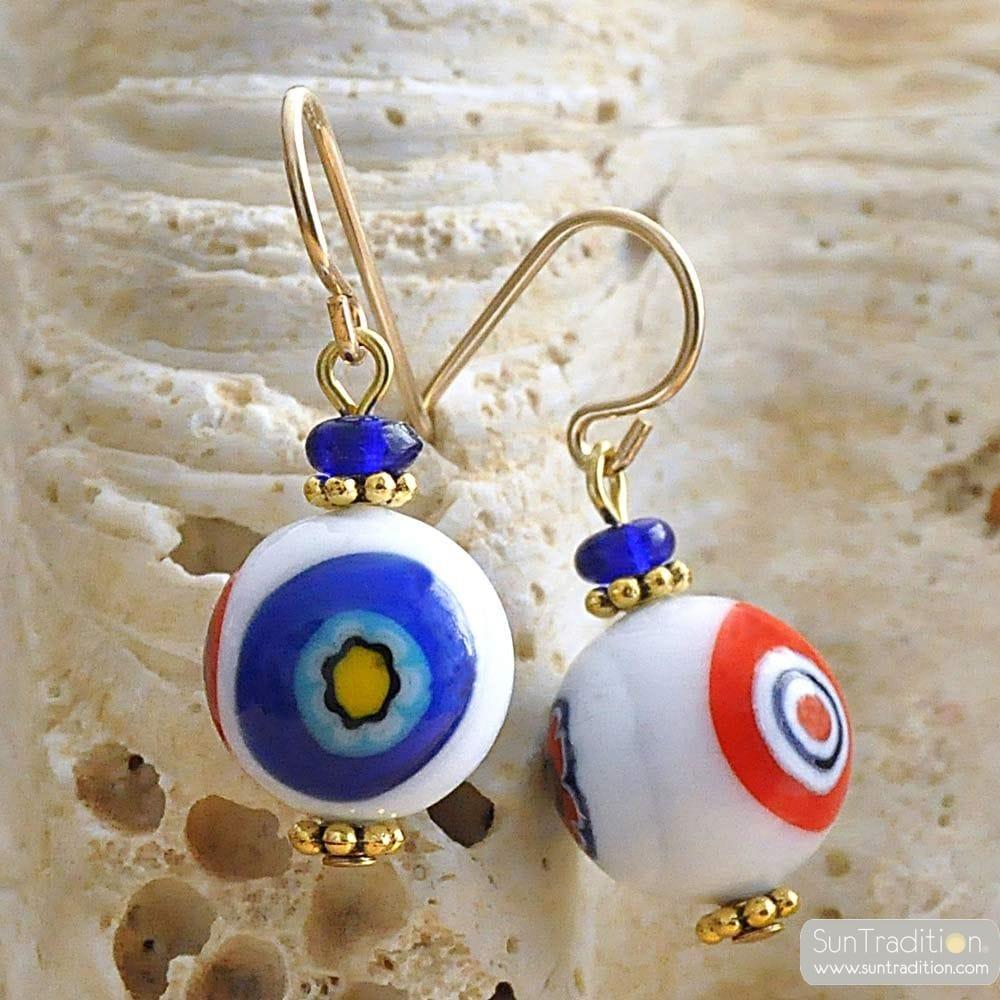 BALL MURRINE-WHITE - earrings MURRINE MILLEFIORI WHITE JEWELRY GENUINE MURANO GLASS OF VENICE