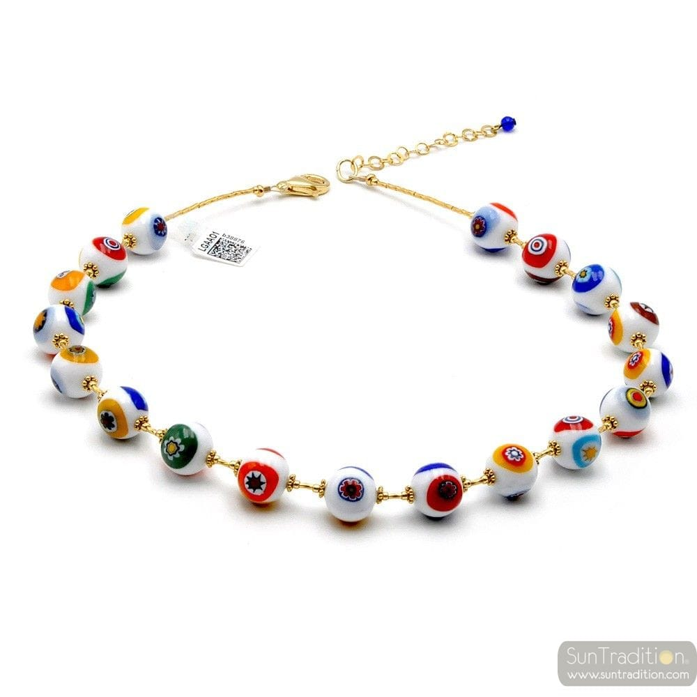 COLLIER OR MURRINE BLANC PERLES MILLEFIORI EN VERITABLE VERRE DE MURANO