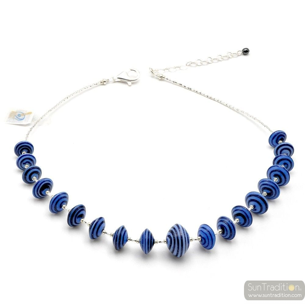 BLUE NECKLACE MURANO GLASS BLUE AVENTURINE VENICE