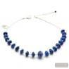 ANELLI DI SATURNO - BLUE MURANO GLASS NECKLACE BLUE AVENTURINE VENICE