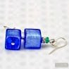 BLUE GENUINE VENETIAN GLASS EARRINGS