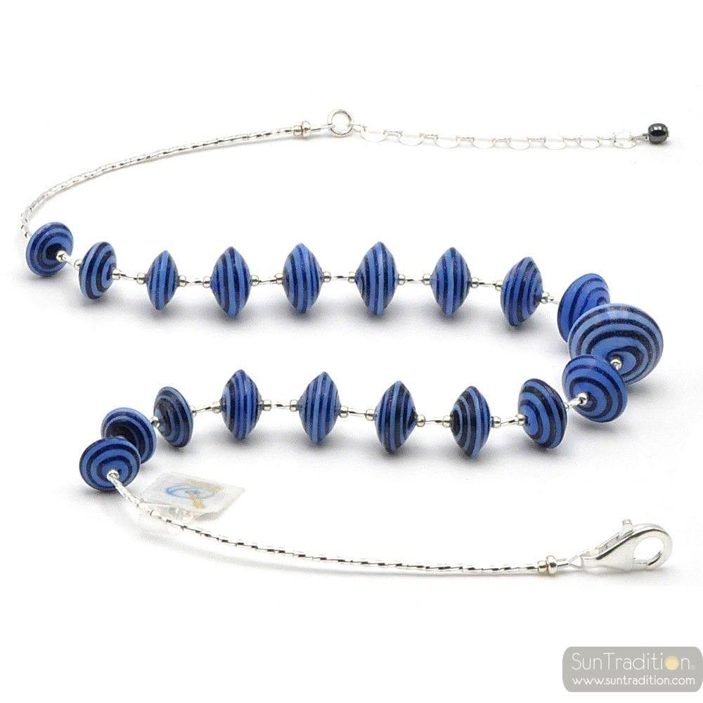 BLUE MURANO GLASS NECKLACE AVENTURINE VENICE