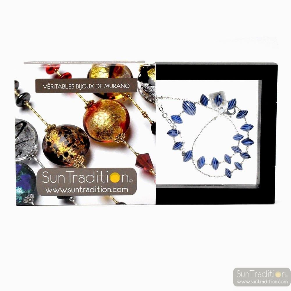ANELLI DI SATURNO - BLUE NECKLACE MURANO GLASS BLUE AVENTURINE VENICE