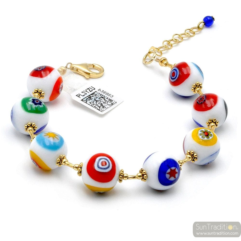 BALL MURRINE BLANC - BRACELET OR MURRINE BLANC PERLES MILLEFIORI EN VERITABLE VERRE DE MURANO