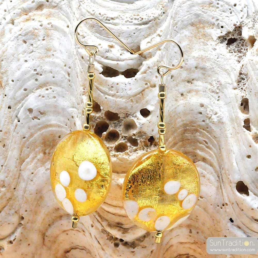 orecchini in ORO PENZOLONI PELLET GOLD AUTENTICO VETRO di MURANO DI VENEZIA