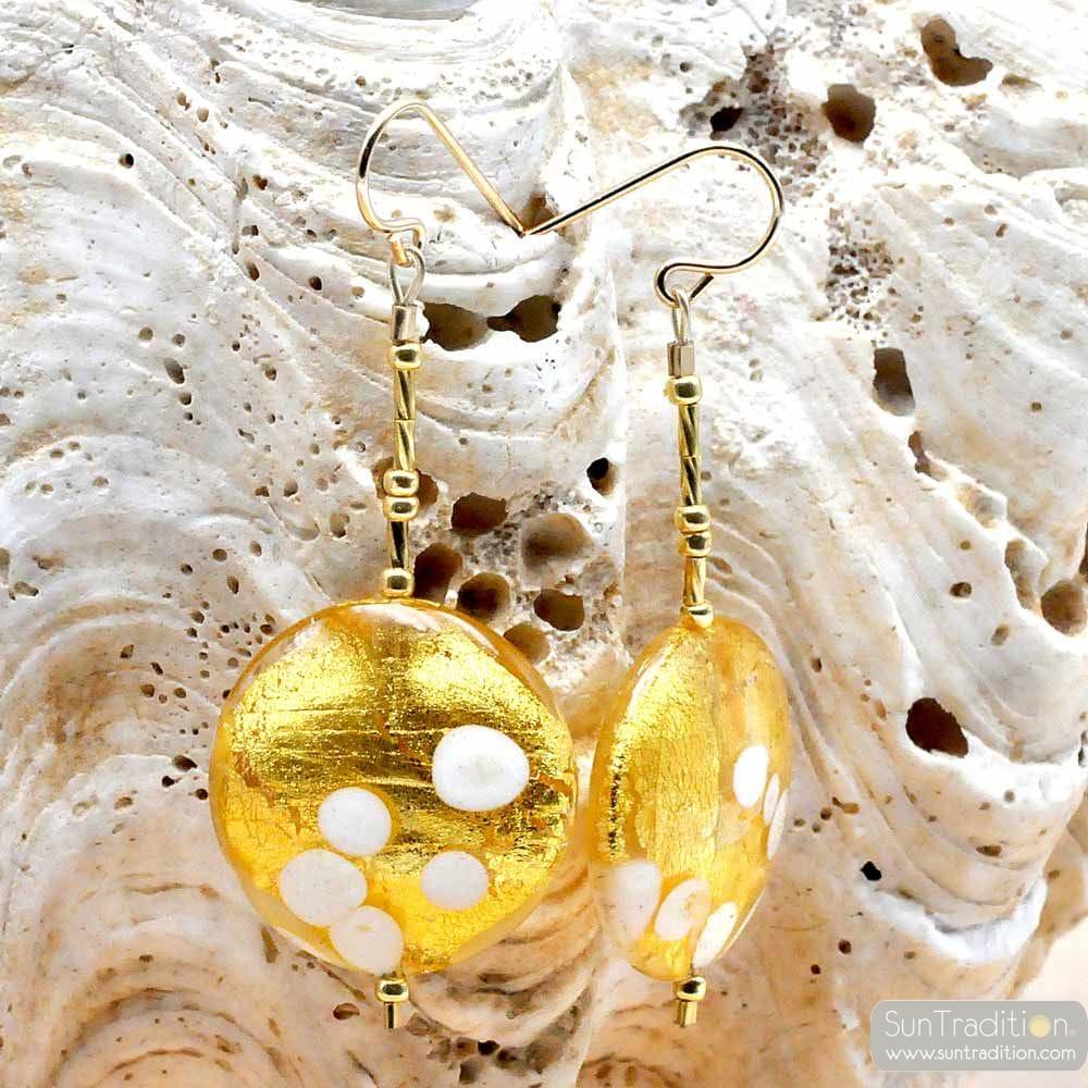 TRAMONTO - orecchini in ORO PENZOLONI PELLET GOLD AUTENTICO VETRO di MURANO DI VENEZIA