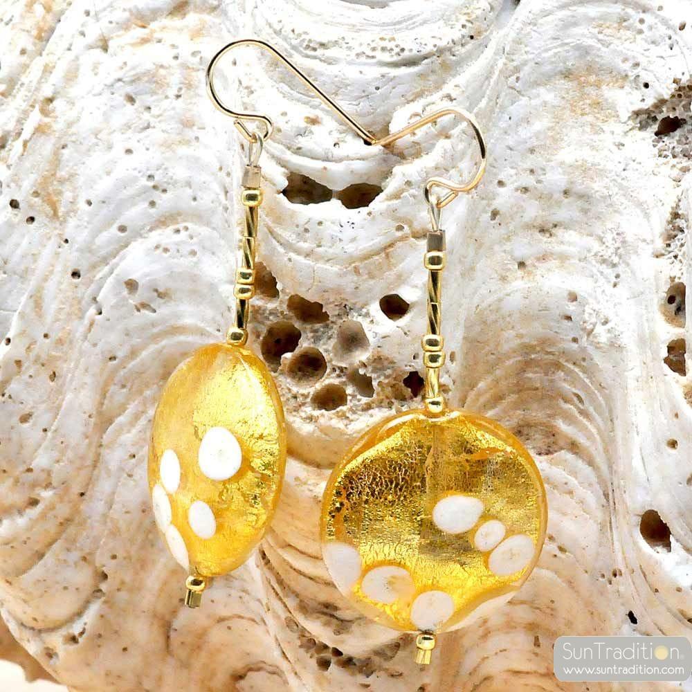 GOLD earrings DANGLING PELLETS GOLD GENUINE MURANO GLASS OF VENICE