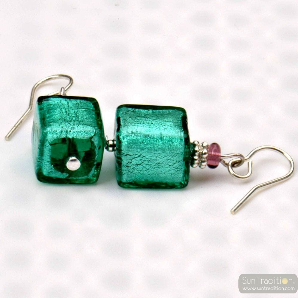 GREEN MURANO GLASS EARRINGS FROM ITALY