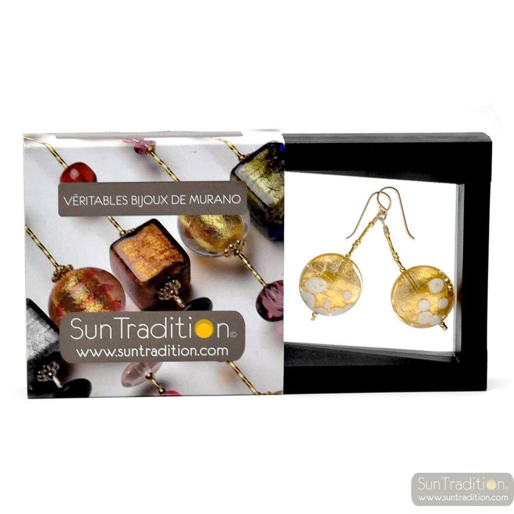 SUNSET - GOLD earrings DANGLING PELLETS GOLD GENUINE MURANO GLASS OF VENICE