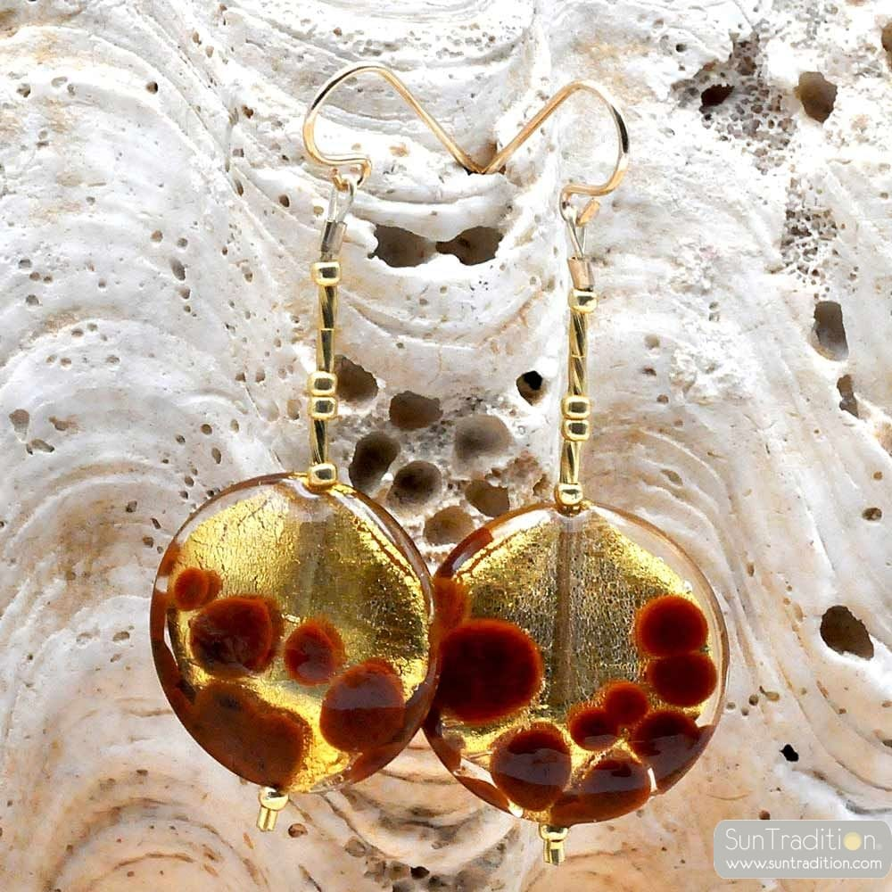 OHRRINGE BRAUN UND GOLD ECHTEN MURANO-GLAS AUS VENEDIG