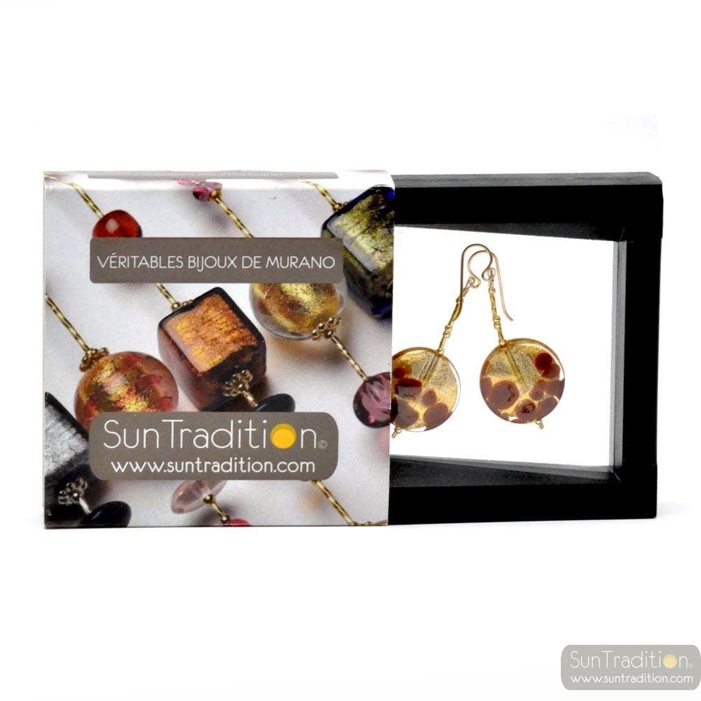 BROWN AND GOLD DROP EARRINGS GENUINE MURANO GLASS OF VENICE
